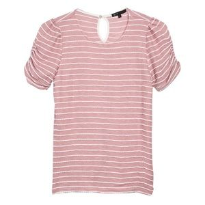 Tops - | kelly striped ruched sleeve shirt |